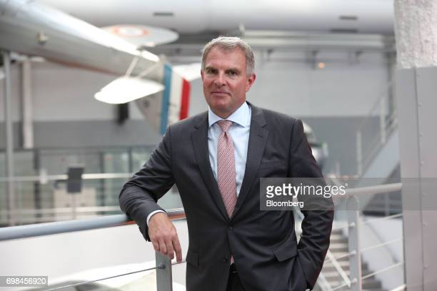 Carsten Spohr chief executive officer of Deutsche Lufthansa AG poses for a photograph during the 52nd International Paris Air Show at Le Bourget in...