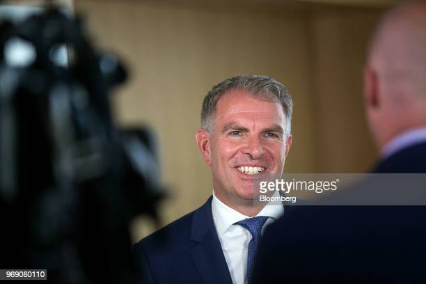 Carsten Spohr chief executive officer of Deutsche Lufthansa AG reacts during a Bloomberg Television interview at the European School of Management...