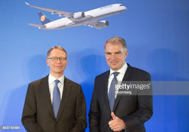 Carsten Spohr chief executive officer of Deutsche Lufthansa AG right and Ulrik Svensson chief financial officer of Deutsche Lufthansa AG pose for...