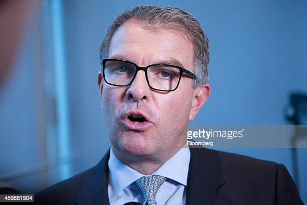 Carsten Spohr chief executive officer of Deutsche Lufthansa AG speaks during a news conference in Frankfurt Germany on Wednesday Dec 3 2014 Lufthansa...