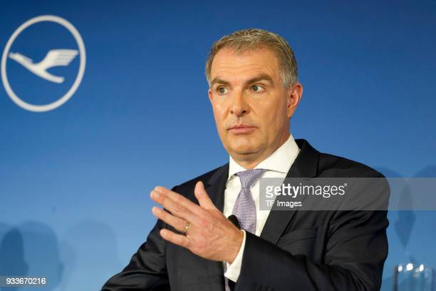 Carsten Spohr gestures during the annual results press conference of Lufthansa AG at Lufthansa Aviation Center on March 15 2018 in Frankfurt am Main...