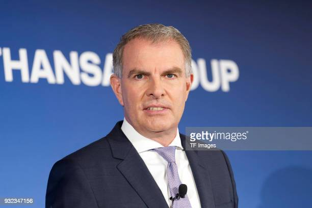 Carsten Spohr looks on during the annual results press conference of Lufthansa AG at Lufthansa Aviation Center on March 15 2018 in Frankfurt am Main...