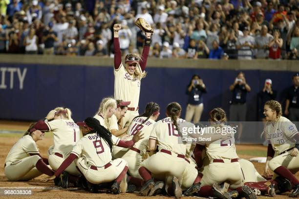 Carsyn Gordon of the Florida State Seminoles celebrates with her teammates after defeating the Washington Huskies during the Division I Women's...