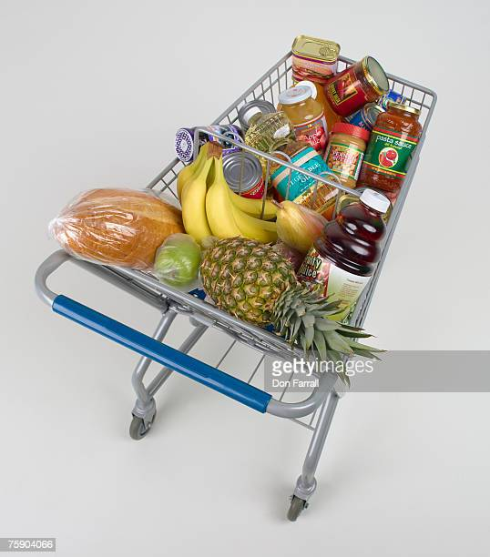 Cart full of groceries, elevated view