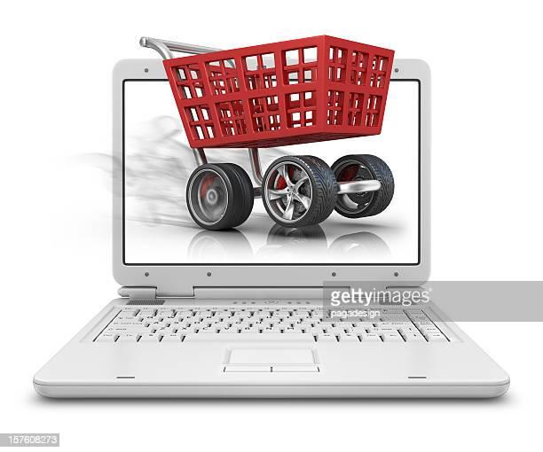 ショッピングカート内のラップトップ