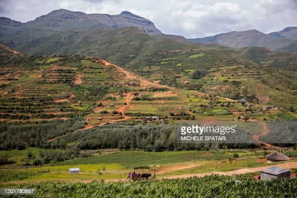 Cart pass by a village outside Maputsoe, Lesotho, on January 31, 2020.