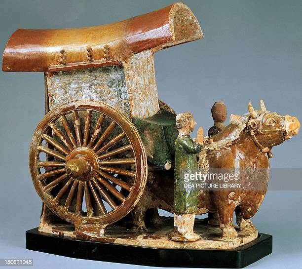 Cart pulled by an ox glazed tricolour pottery funerary model China Chinese Civilisation Sui Dynasty 5th7th centuries