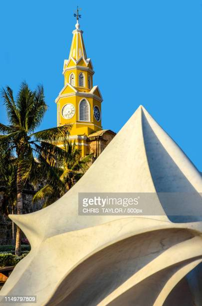 cartagena clock tower - clock tower stock pictures, royalty-free photos & images
