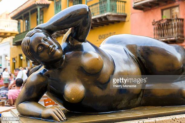 Cartagena Colombia August 23 2015 Statue of Fernando Botero in the old city of Cartagena