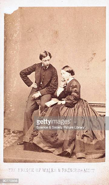 Carte de visite by John Mayall of London showing Queen Victoria's children Prince Albert later Edward VII and Princess Alice Edward's scandalous...