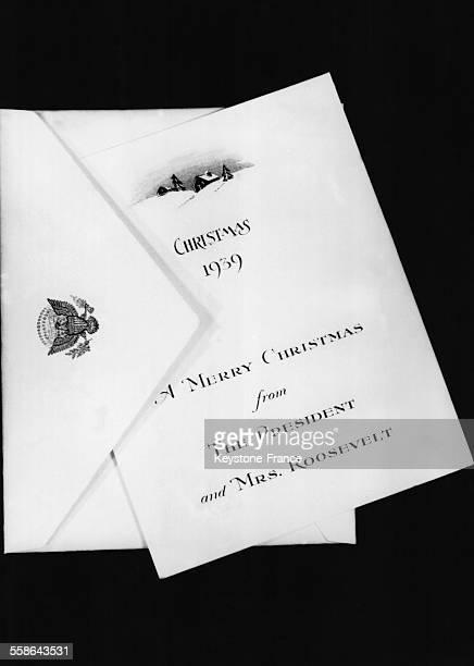 Carte de voeux envoyee pour Noel par le President Roosevelt et son epouse a leurs amis et relations a Washington DC le 20 decembre 1939
