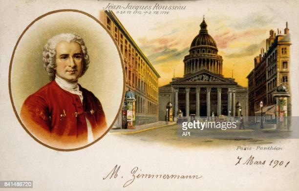 Carte postale figurant un portrait du philosophe JeanJacques Rousseau en médaillon et le Panthéon à Paris