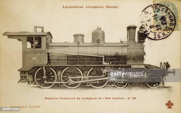 Carte postale française d'une locomotive étrangère à vapeur compound fabriquée en Suède.