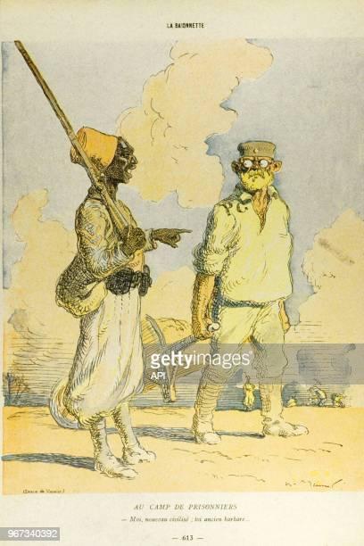 Carte postale humoristique sur la Baïonette pendant la Première guerre Mondiale France