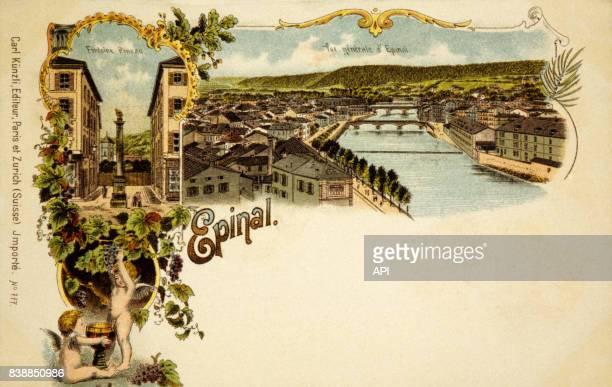 Carte postale illustrant la ville d'Epinal en France