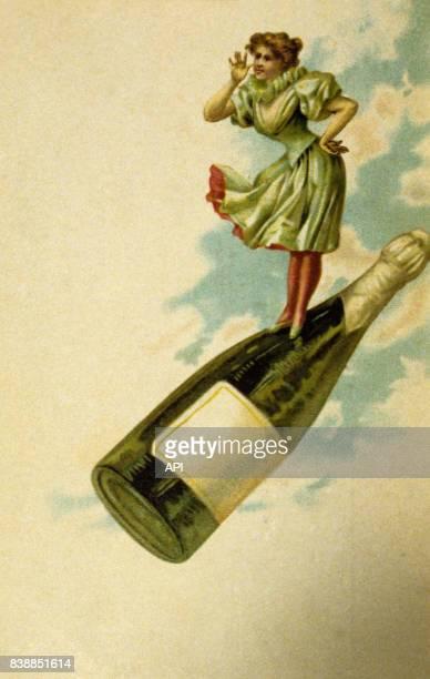 Carte postale qui représente le dessin d'une femme sur une bouteille d'alcool