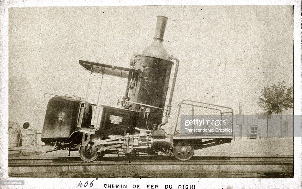 Carte De Visite Photograph Of An Early Form Locomotive On The