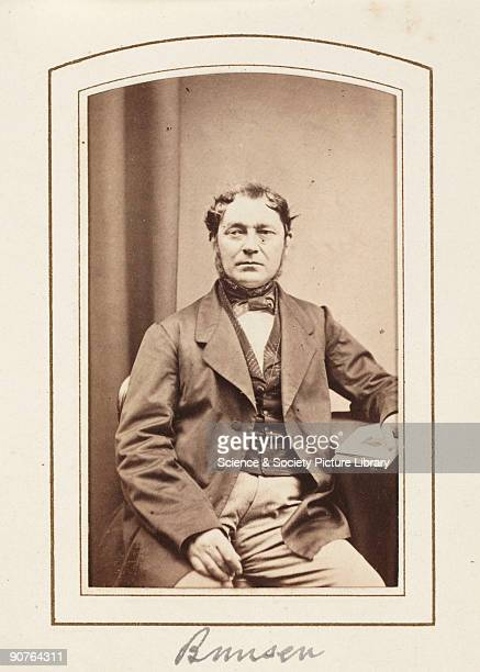 Carte-de-visite portrait of Robert Wilhelm Bunsen , taken by an unknown photographer and published by Petschler & Co, Manchester, in about 1865. A...