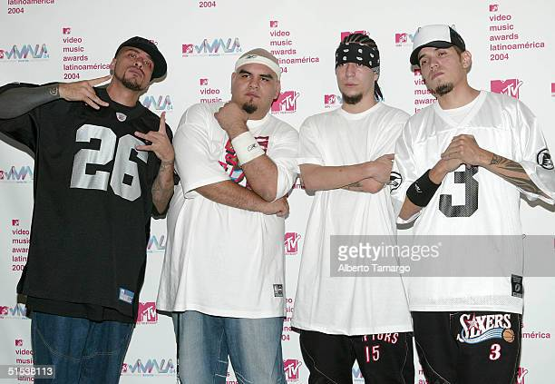 Cartel de Santa poses backstage in the press room at the 2004 MTV Video Music Awards Latin America at the Jackie Gleason Theater on October 21 2004...