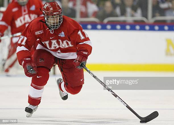 Carter Camper of the Miami Red Hawks heads for the net against the Boston Terriers during the NCAA Men's Frozen Four Championship game on April 11,...
