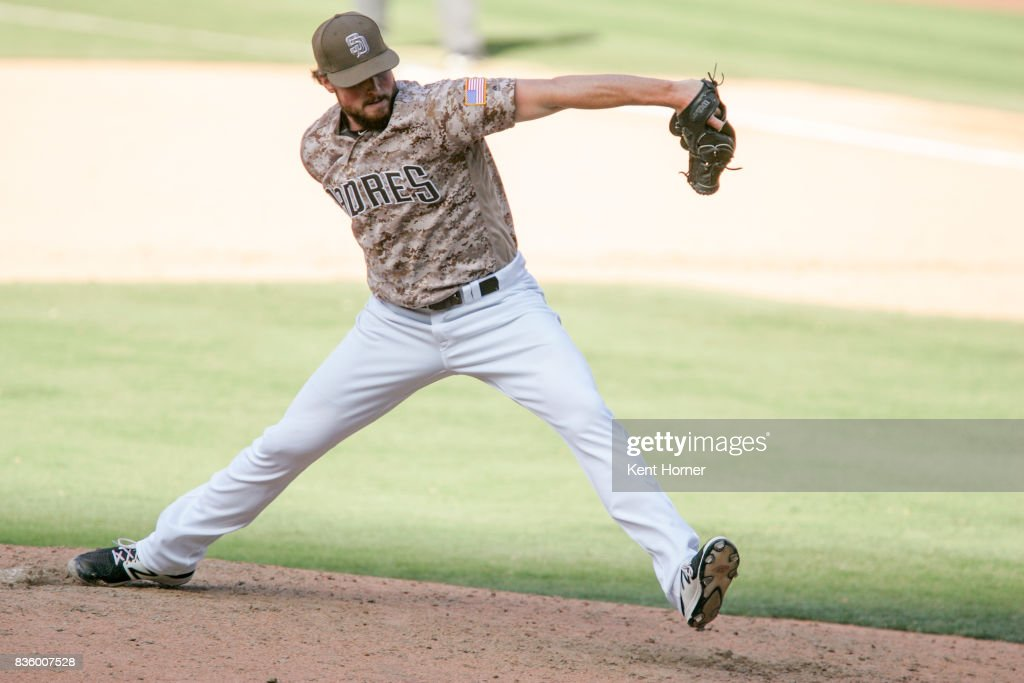 Carter Capps #56 of the San Diego Padres pitches the ball during the ninth inning against the Washington Nationals at PETCO Park on August 20, 2017 in San Diego, California.
