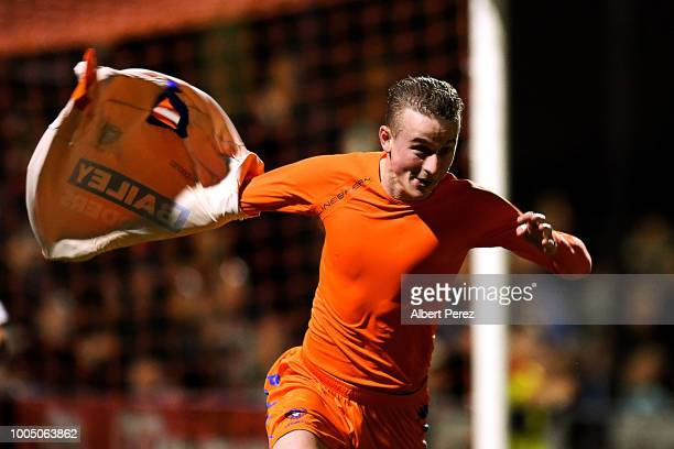 Carter Glockner of Lions FC celebrates scoring the match winning goal during the FFA Cup round of 32 match between Lions FC and Olympic FC at Lions...