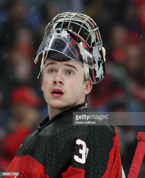Carter Hart of Canada during a time out during the second period against Finland at KeyBank Center on December 26 2017 in Buffalo New York