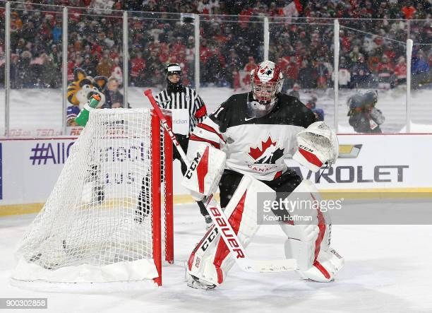 Carter Hart of Canada during the IIHF World Junior Championship at New Era Field against the United States on December 29 2017 in Buffalo New York...