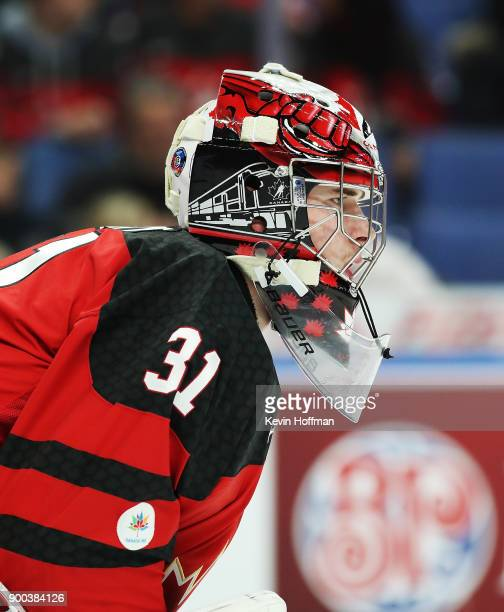 Carter Hart of Canada during the second period against Finland during the 2018 IIHF World Junior Championship at KeyBank Center on December 26 2017...