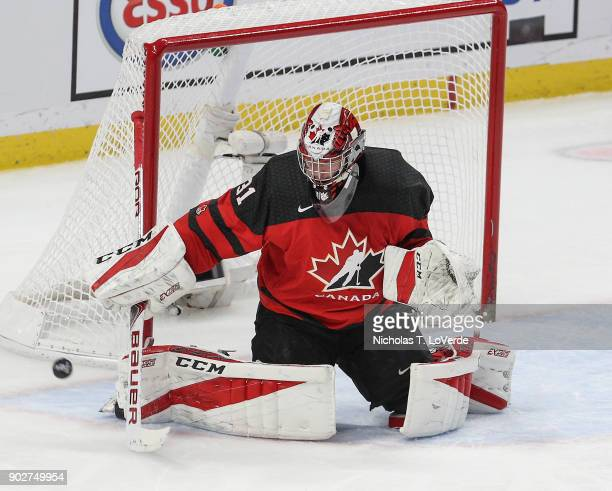 Carter Hart of Canada makes a save against the Czech Republic during the second period of play in the IIHF World Junior Championships Semifinal game...