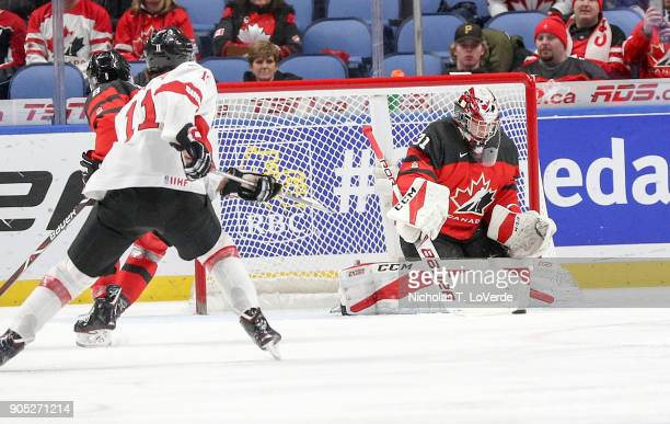 Carter Hart of Canada makes a save on a shot from Marco Miranda of Switzerland during the first period of play in the Quarterfinal IIHF World Junior...