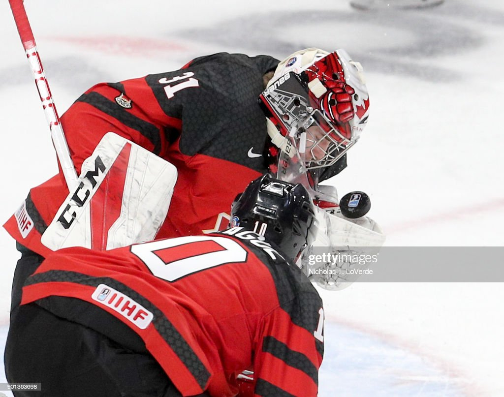 Carter Hart #31 of Canada makes one of his 18 saves against the Czech Republic during the third period of play in the IIHF World Junior Championships Semifinal game at KeyBank Center on January 4, 2018 in Buffalo, New York.