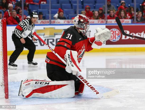 Carter Hart of Canada tends net against Czech Republic in the second period during the IIHF World Junior Championship at KeyBank Center on January 4...