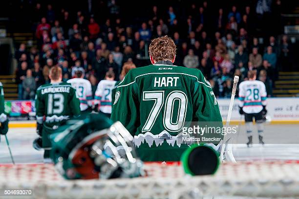 Carter Hart of Everett Silvertips lines up against the Kelowna Rockets on January 8 2016 at Prospera Place in Kelowna British Columbia Canada