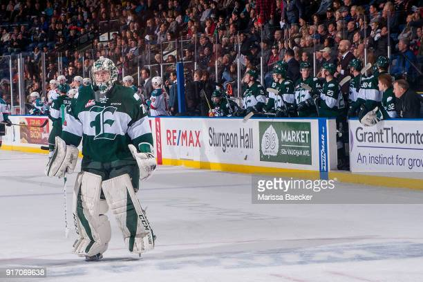 Carter Hart of the Everett Silvertips skates back to the net after a penalty call against the Kelowna Rockets at Prospera Place on February 2 2018 in...