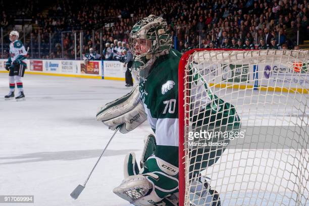 Carter Hart of the Everett Silvertips stands in net against the Kelowna Rockets at Prospera Place on February 2 2018 in Kelowna Canada