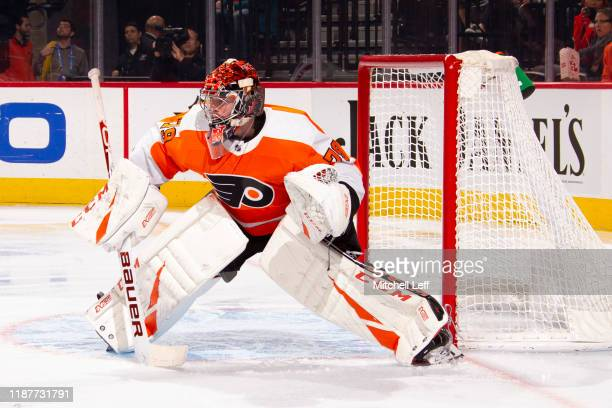 Carter Hart of the Philadelphia Flyers in action against the Washington Capitals at Wells Fargo Center on November 13 2019 in Philadelphia...