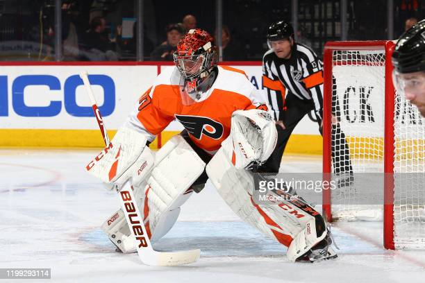Carter Hart of the Philadelphia Flyers in action against the Washington Capitals at the Wells Fargo Center on January 8 2020 in Philadelphia...