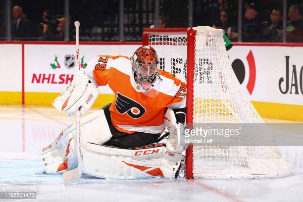 Carter Hart of the Philadelphia Flyers in action against the Buffalo Sabres at the Wells Fargo Center on December 19 2019 in Philadelphia Pennsylvania