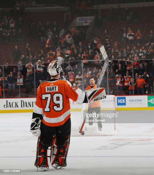 Carter Hart of the Philadelphia Flyers is named the first star of the game in a 21 victory over the Nashville Predators at the Wells Fargo Center on...