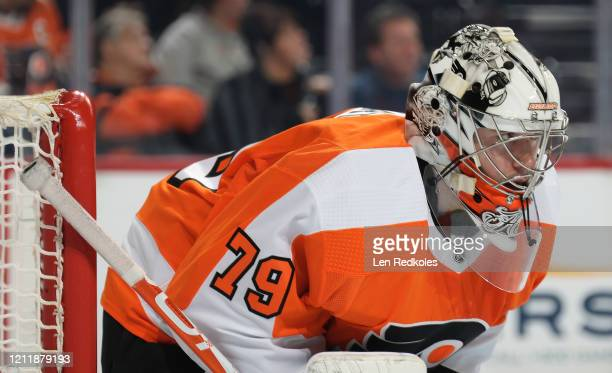 Carter Hart of the Philadelphia Flyers looks on against the Carolina Hurricanes on March 5 2020 at the Wells Fargo Center in Philadelphia Pennsylvania