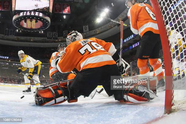 Carter Hart of the Philadelphia Flyers makes the third period save against the Nashville Predators at the Wells Fargo Center on December 20 2018 in...