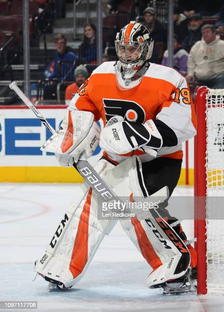 Carter Hart of the Philadelphia Flyers prepares to stop a shot on goal against the Minnesota Wild on January 14 2019 at the Wells Fargo Center in...