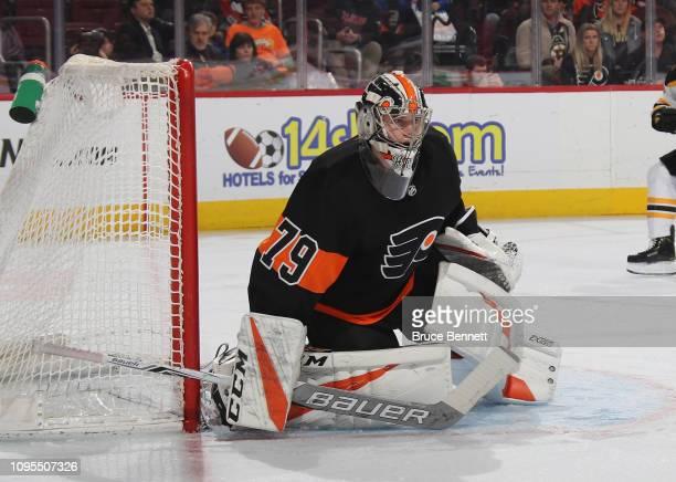 Carter Hart of the Philadelphia Flyers skates against the Boston Bruins at the Wells Fargo Center on January 16 2019 in Philadelphia Pennsylvania The...