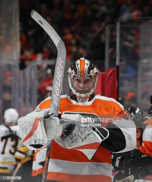 Carter Hart of the Philadelphia Flyers skates against the Pittsburgh Penguins at the Wells Fargo Center on February 11 2019 in Philadelphia...