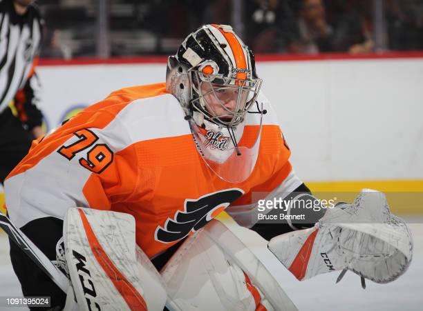 Carter Hart of the Philadelphia Flyers skates against the St Louis Blues at the Wells Fargo Center on January 07 2019 in Philadelphia Pennsylvania...
