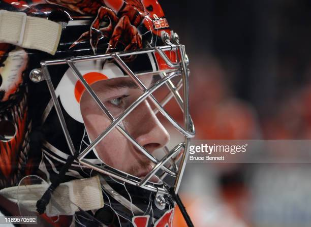 Carter Hart of the Philadelphia Flyers skates in warm-ups prior to the game against the Calgary Flames at the Wells Fargo Center on November 23, 2019...