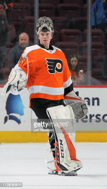 Carter Hart of the Philadelphia Flyers skates onto the ice for being named one of the games stars against the Vancouver Canucks on February 4 2019 at...