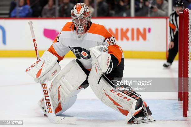 Carter Hart of the Philadelphia Flyers tends goal against the Colorado Avalanche at the Pepsi Center on December 11, 2019 in Denver, Colorado.