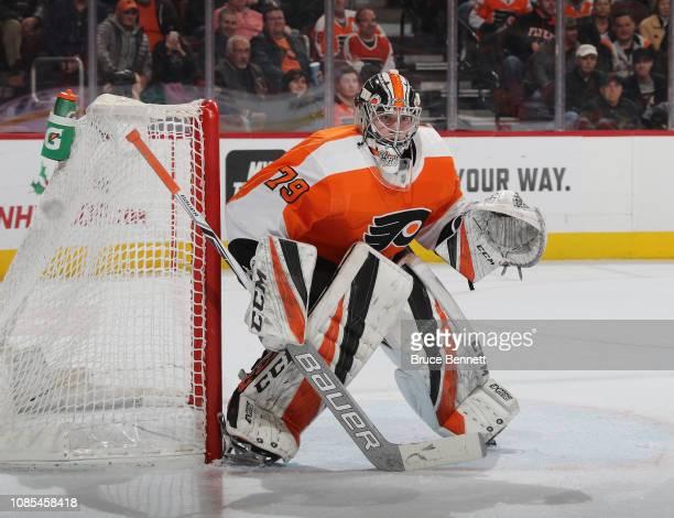 Carter Hart of the Philadelphia Flyers tends net against the Nashville Predators at the Wells Fargo Center on December 20 2018 in Philadelphia...
